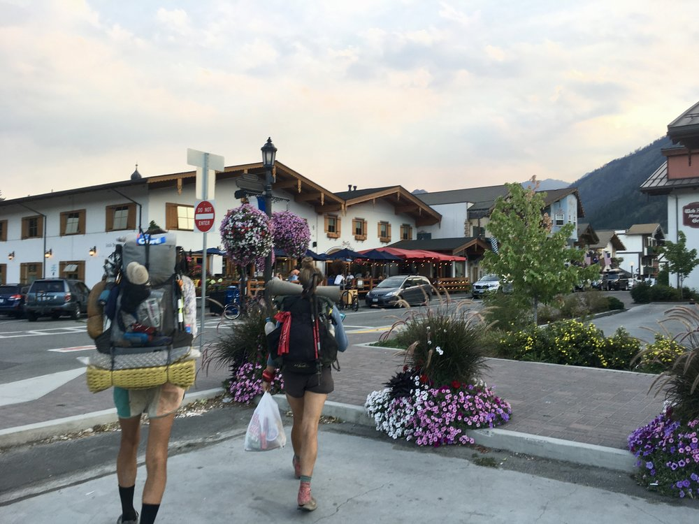 Hiker trash roaming the Bavarian-themed Leavenworth, WA.