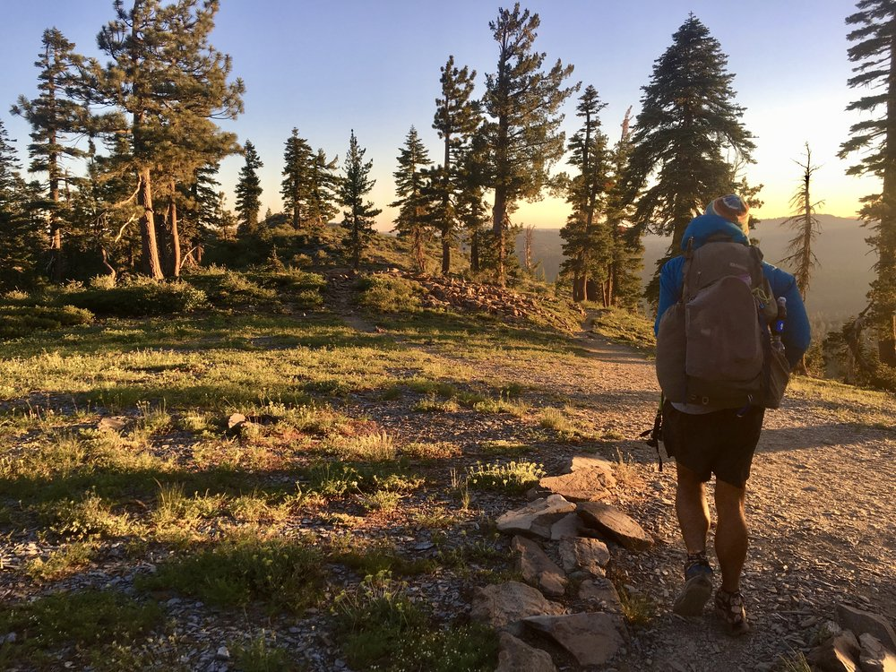 Blis hiking at sunrise somewhere after Sierra City,CA