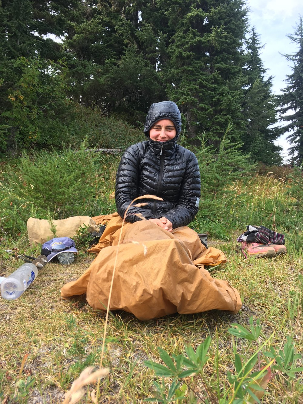 """This jacket is affectionately nicknamed  """"The Trashbag.""""  In Washington, it's perfectly acceptable to take naps at lunch and use your ground sheet as a blanket."""