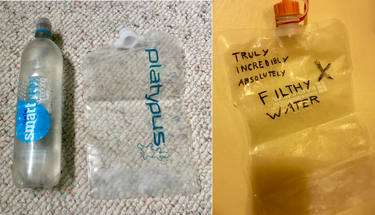 Left: A beat up  Smartwater bottle  and a brand new  Platypus 2L ; Right: A properlly labeled  Evernew 2L